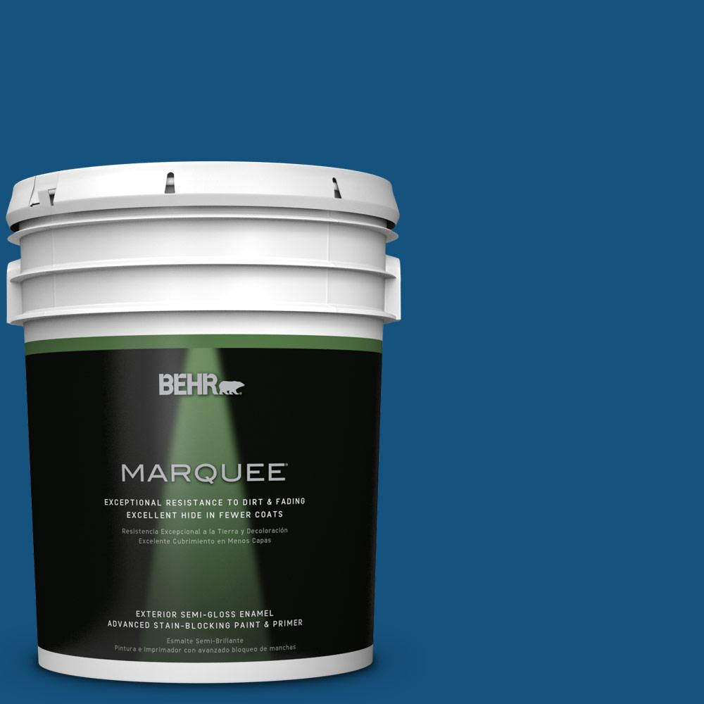 BEHR MARQUEE 5-gal. #S-H-570 Blueberry Twist Semi-Gloss Enamel Exterior Paint
