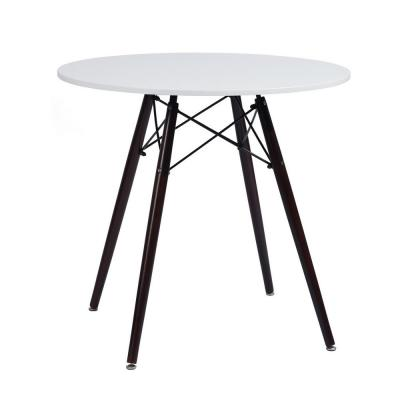 Chad Round White Top Dark Brown Legs Dining Table