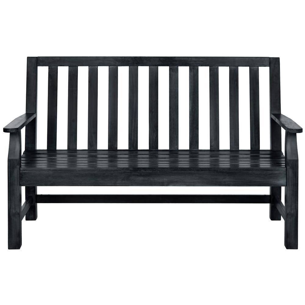 Indaka 2-Person Dark Slate Grey Wood Outdoor Bench