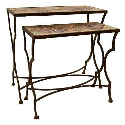 27.5 in. x 13.75 in. Bronze Metal and Wood Tables (Set of 2)