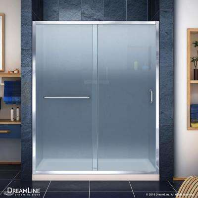 Infinity-Z 30 in. x 60 in. Semi-Frameless Sliding Shower Door in Chrome with Center Drain Shower Base in Biscuit