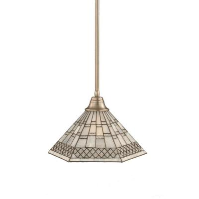 Atwood 1-Light Brushed Nickel Pendant with Pewter Tiffany Glass