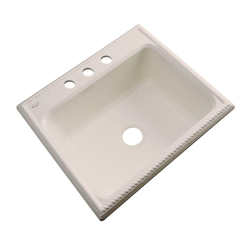 Thermocast Wentworth Drop-In Acrylic 25 in. 3-Hole Single Bowl Kitchen Sink in Candlelyght