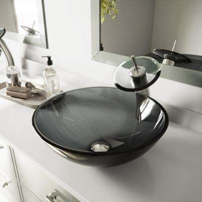 Glass Vessel Sink in Sheer Black with Waterfall Faucet Set in Brushed Nickel