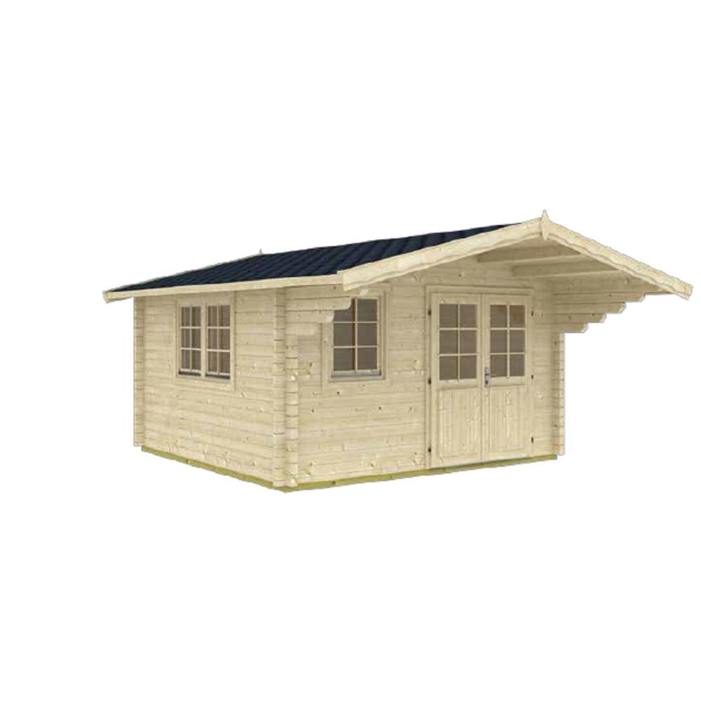 Enzo 13 ft. 1 in. x 16 ft. 4 in. Wood Log Garden Hobby Workshop Office Storage Building Kit