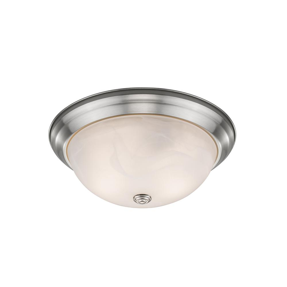 Curran 2-Light 60-Watt Brushed Nickel Flush Mount with Alabaster Glass