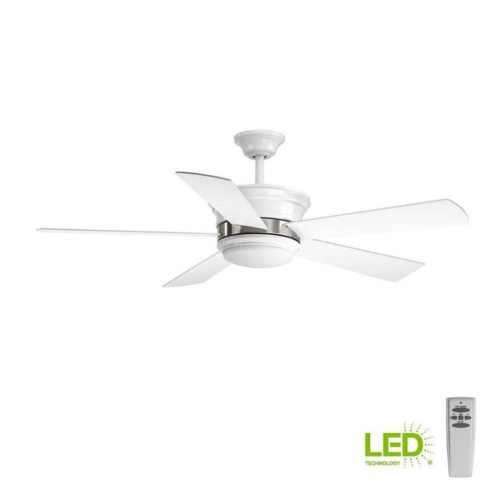 Progress Lighting Harranvale Collection 54 In Led Indoor White Modern Ceiling Fan With Light Kit