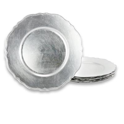 Scallop Silver 13 in. Charger Plate in Antique Silver (Set of 8)