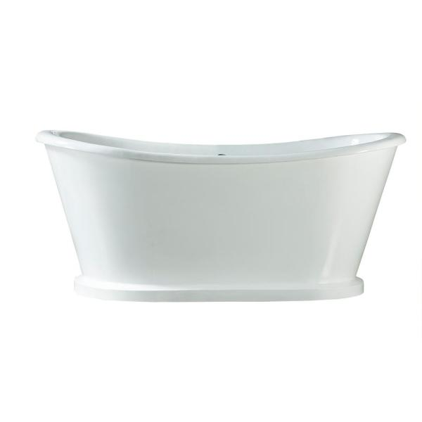Raynor 66 in. Cast Iron Flatbottom Non-Whirlpool Bathtub in White with No Faucet Holes