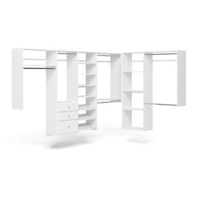 96 in. W - 120 in. W White L-Shaped Wood Closet System