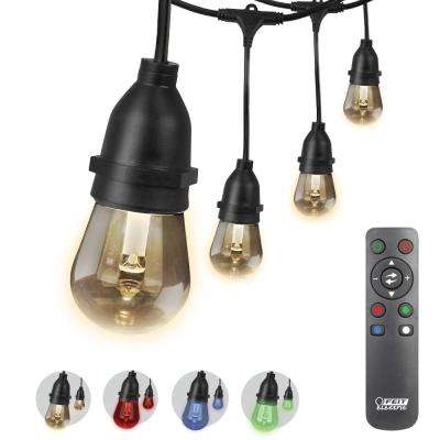 30 ft. 15-Socket Color Changing String Light Set with Non-Breakable LED Bulbs and Remote Control Included (Case of 4)