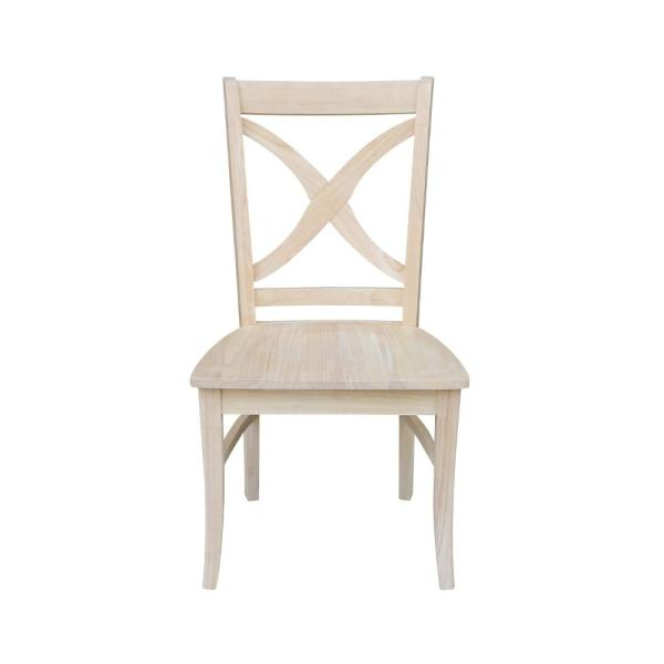 International Concepts Unfinished Wood X Back Dining Chair (Set Of 2)