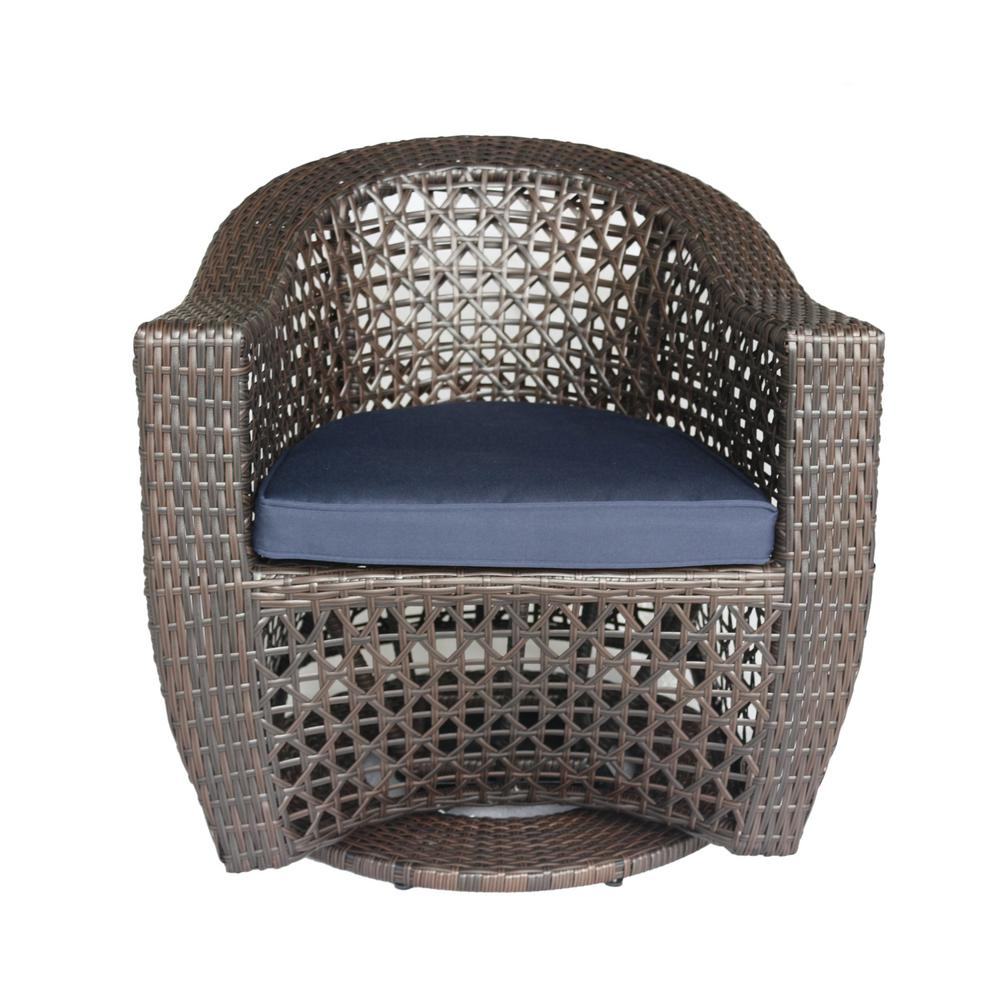 Big Sur Multi-Brown Swivel Wicker Outdoor Lounge Chair with Navy Blue Cushion