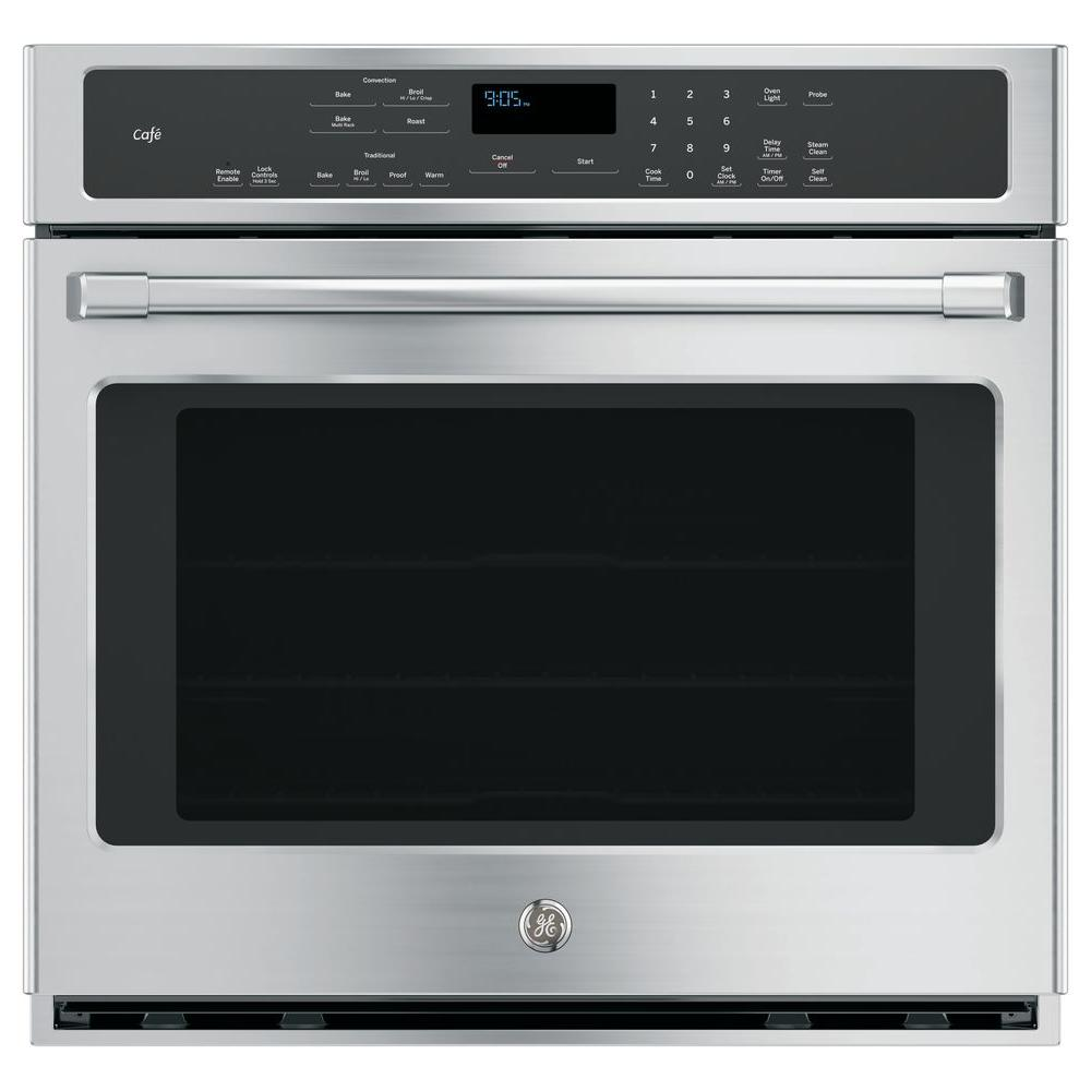 GE 30 in. Single Electric Smart Wall Oven Self-Cleaning with Convection and WiFi in Stainless Steel