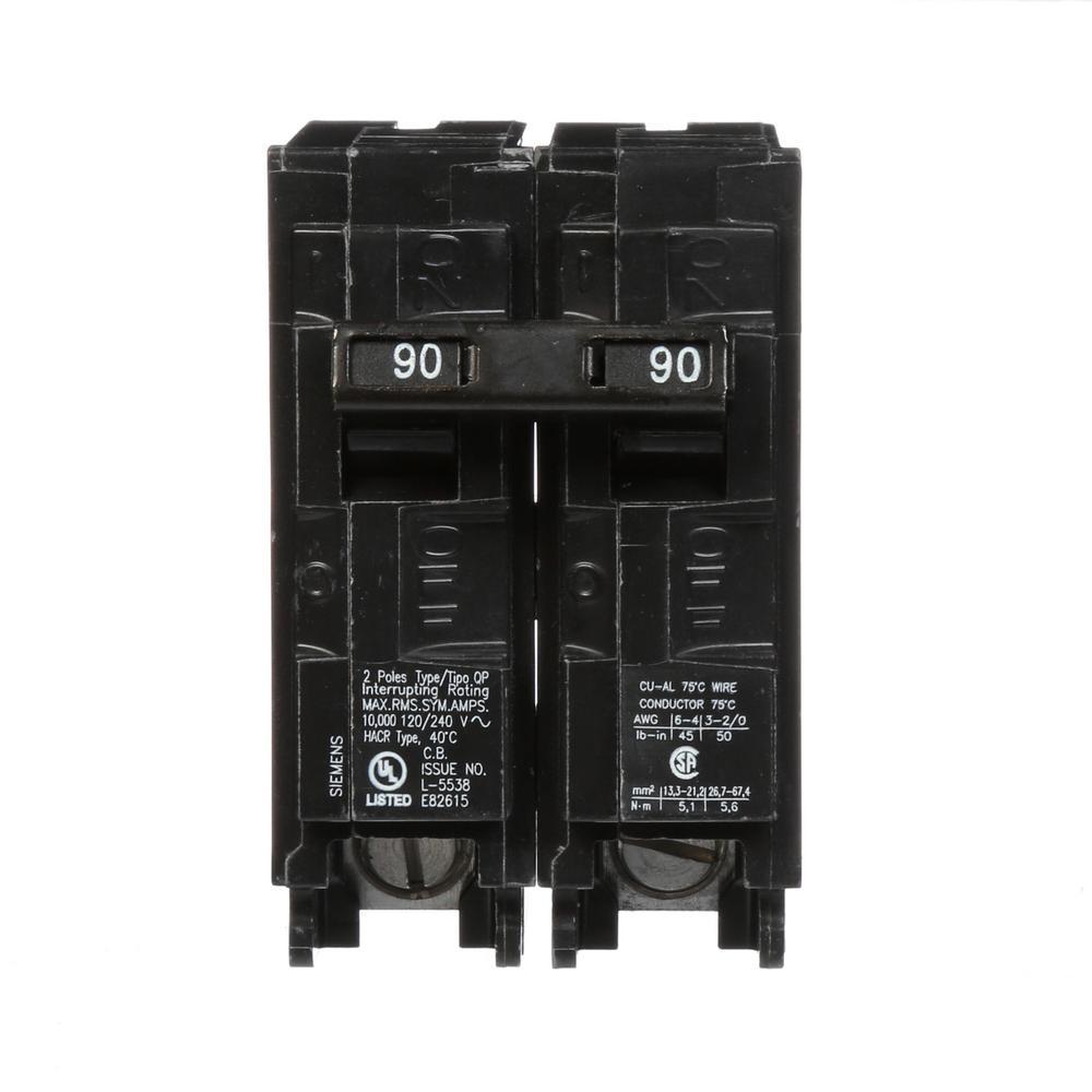 Siemens 90 Amp Double-Pole Type QP Circuit Breaker-Q290 - The Home Depot