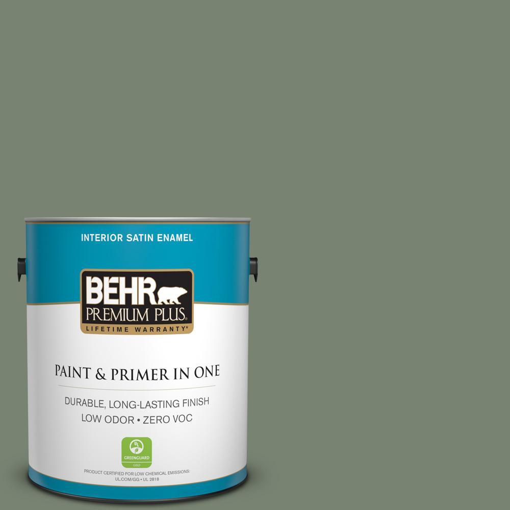 BEHR Premium Plus 1gal ICC77 Sage Green Zero VOC Satin Enamel