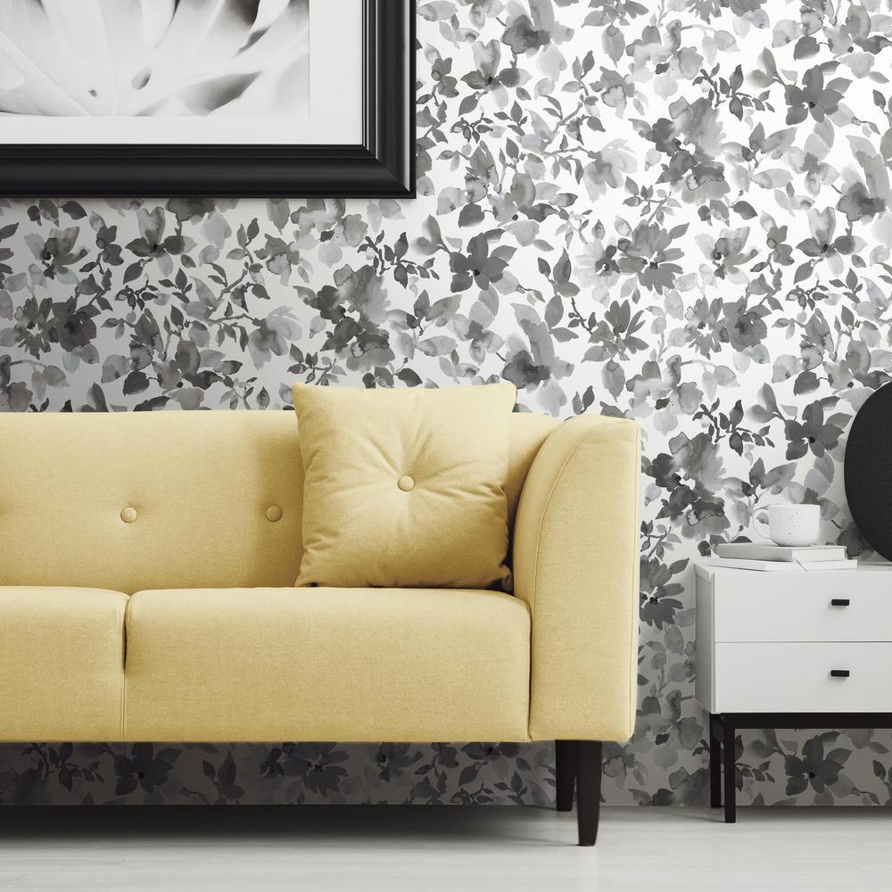 Black Watercolor Floral Vinyl Peelable Wallpaper (Covers 28.18 sq. ft.)