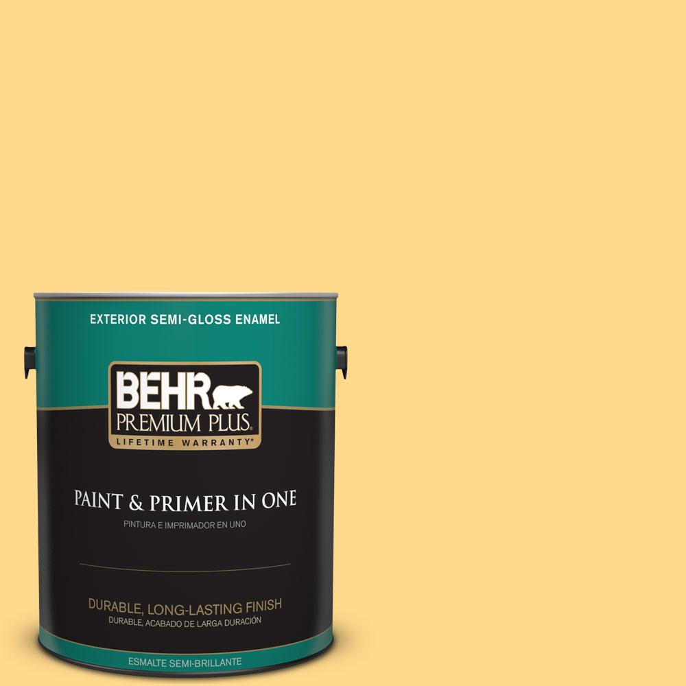 BEHR Premium Plus 1-gal. #P270-4 Egg Cream Semi-Gloss Enamel Exterior Paint, Yellows/Golds