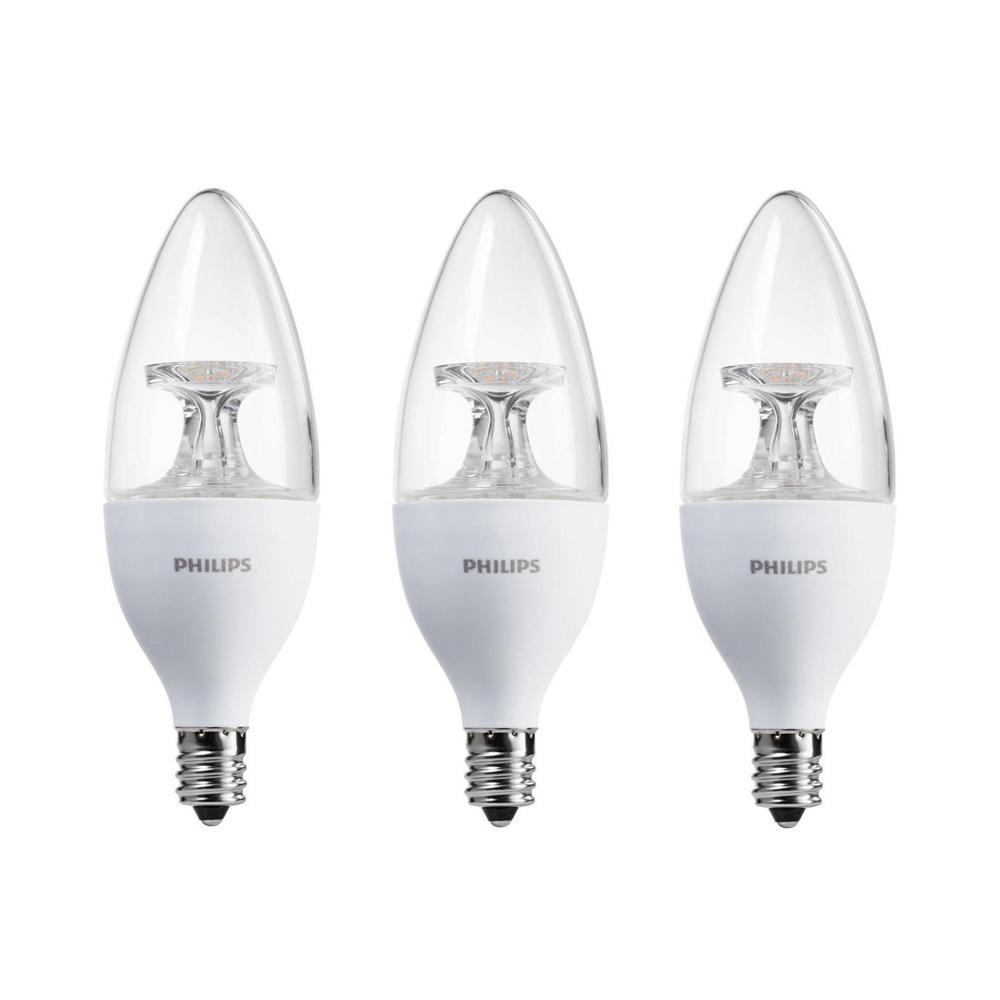 Philips 40W Equivalent Soft White B11 Candelabra Base LED Light Bulb (3-Pack)