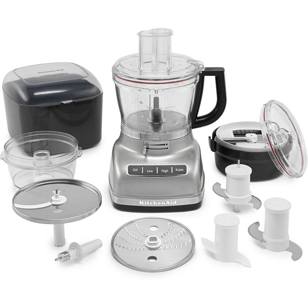 ExactSlice Food Processor, Stainless Look This 14-cup food processor from KitchenAid features the first, residential, hands-free, commercial-style dicing kit and ExactSlice system to slice from thick to thin with one slide of the lever. These features enable you to prep your food safely and efficiently. The UltraTight seal features a specially designed locking system with leak-resistant ring that allows you to fill the work bowl to capacity with ingredients without worrying about making a mess. Slice, dice, shred, knead, and chop with ease so you can enjoy your meal in no time. Color: Stainless Look.