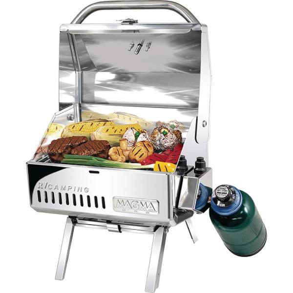 Mesquite Traveler Series RV Camping Portable Propane Gas Barbecue Grill in Stainless Steel