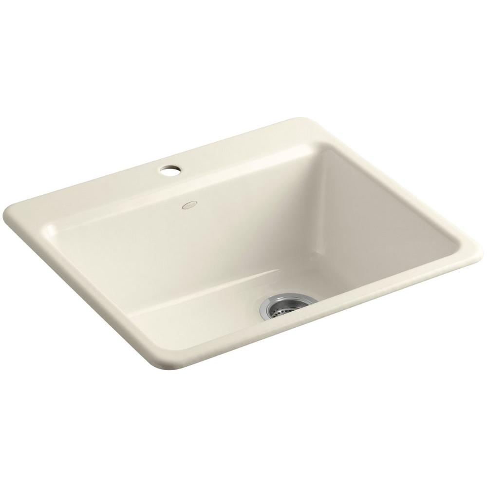 kohler single basin kitchen sink kohler riverby drop in cast iron 25 in 1 single bowl 8821