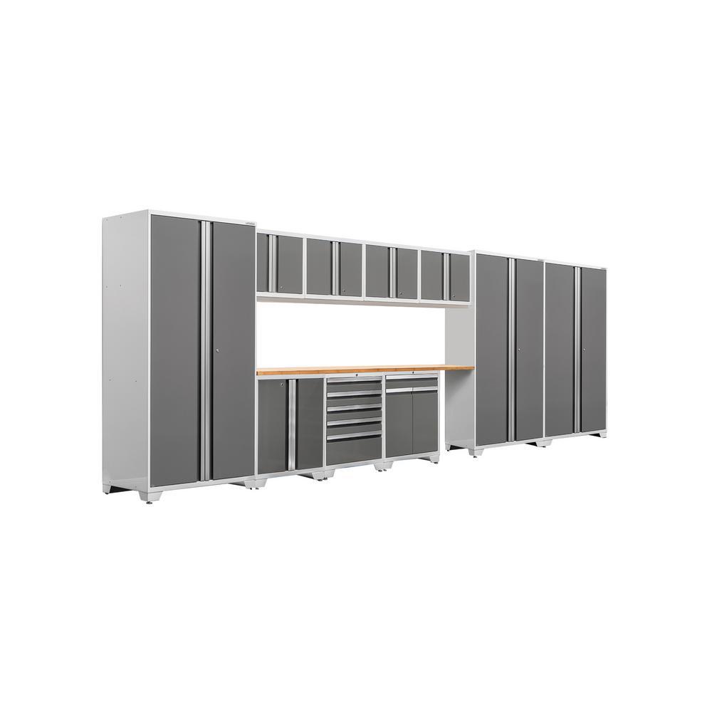 Pro 3 Series 85 in. H x 220 in. W x 24 in. D 18-Gauge Welded Steel Bamboo Worktop Cabinet Set in Platinum (12-Piece)