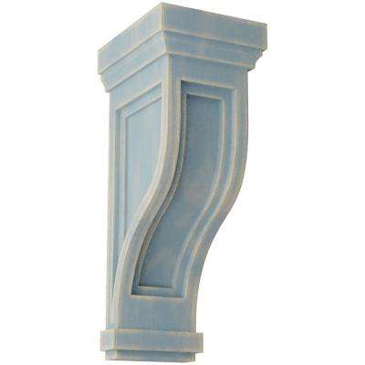 6-1/2 in. x 14 in. x 6-1/2 in. Driftwood Blue Traditional Recessed Wood Vintage Decor Corbel