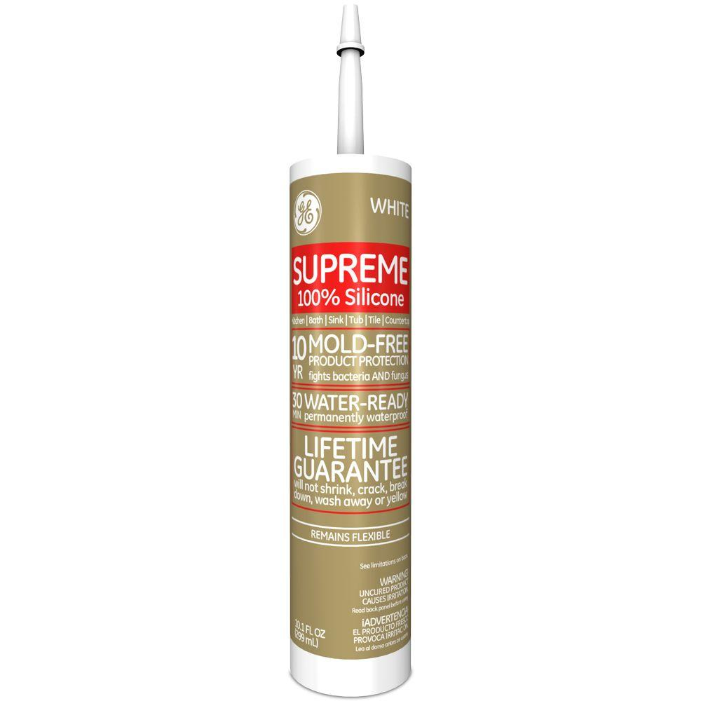 GE Supreme Silicone 10.1 oz. White Kitchen and Bath Caulk-M90007-30 ...