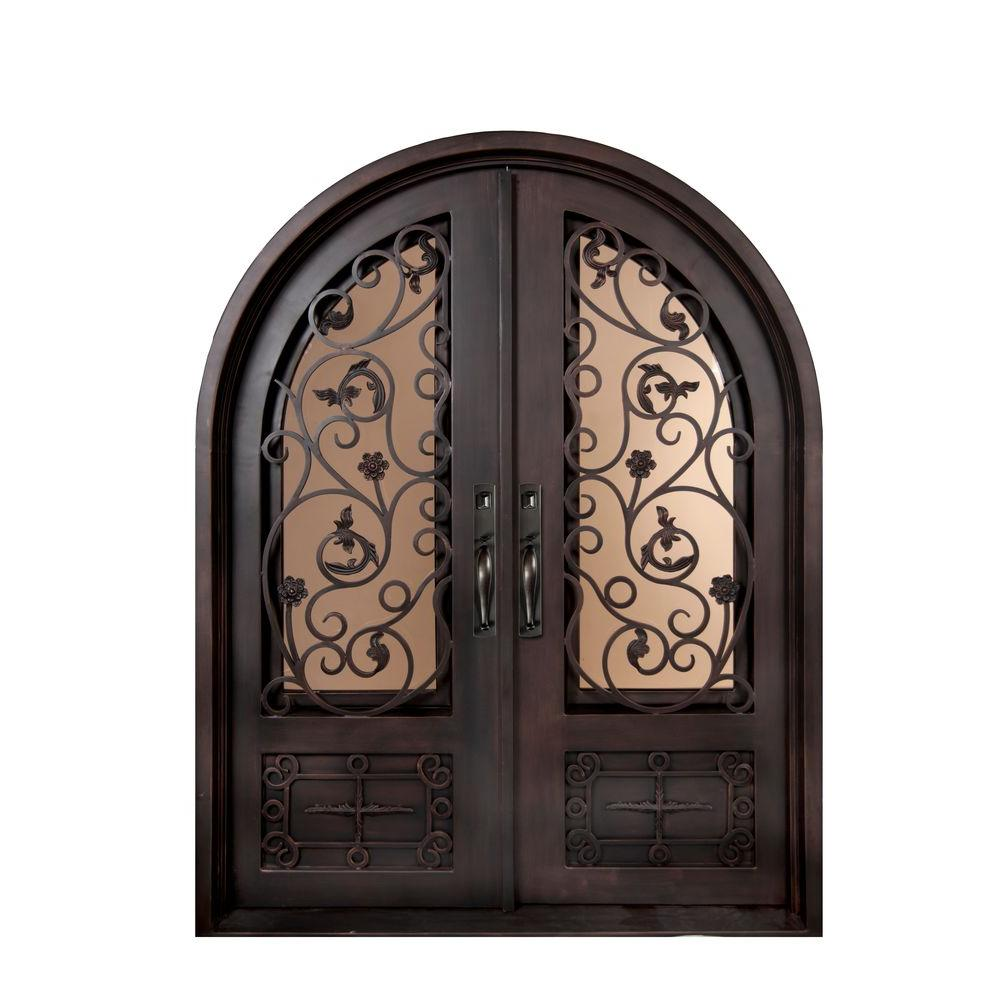 Iron Doors Unlimited 62 in. x 98 in. Fero Fiore Classic Center Arch Painted Oil Rubbed Bronze Decorative Wrought Iron Prehung Front Door