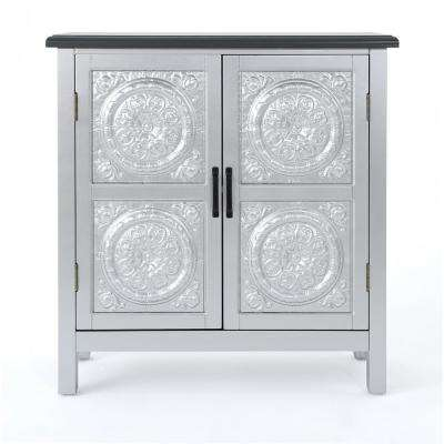 Silver 2-Door Cabinet with Charcoal Gray Top