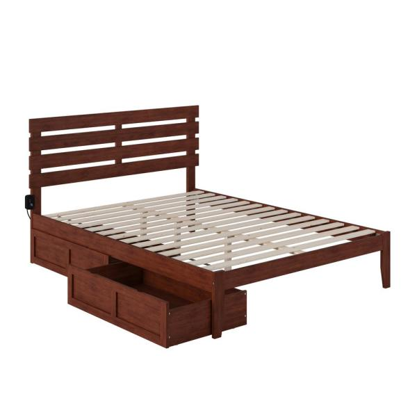 Oxford Queen Bed with USB Turbo Charger and 2 Extra Long Drawers in Walnut