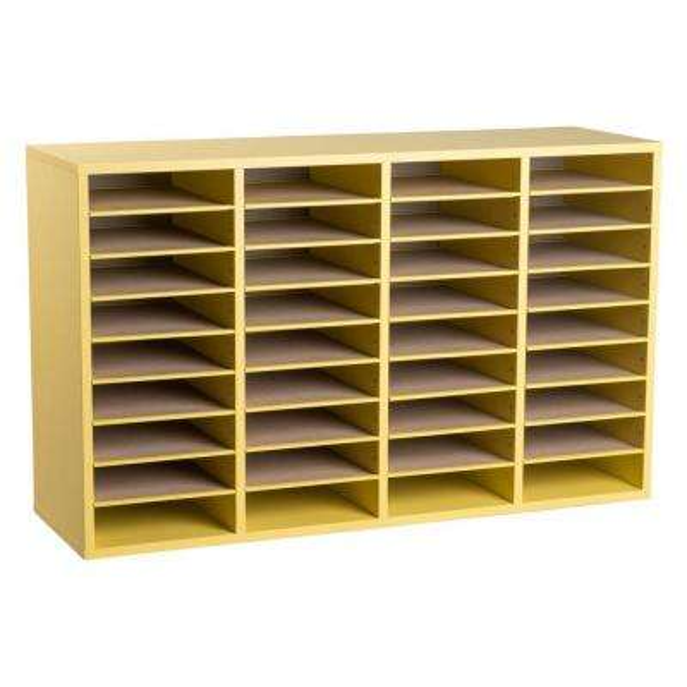 Wood Adjustable 36 Compartment Literature Organizer, Yellow