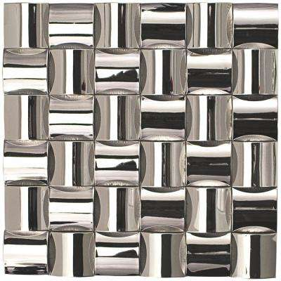 Steele Weave 12 in. x 12 in. 13mm Polished Metal Mosaic Wall Tile (1 sq. ft. per Sheet)