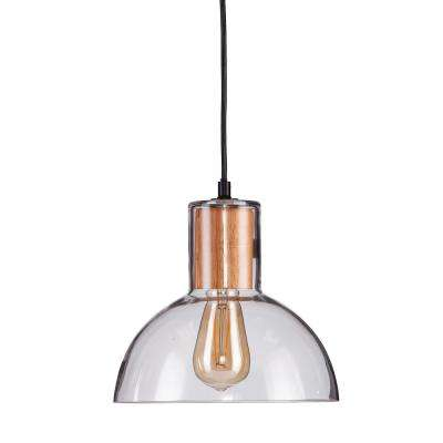 Jorma 1-Light Natural Wood Finish Pendant with Clear Glass Shade (2-Piece Set)
