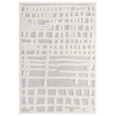 Ladder Abstract Plaid Lattice 5x8 Shag Area Rug in Ivory and Light Gray