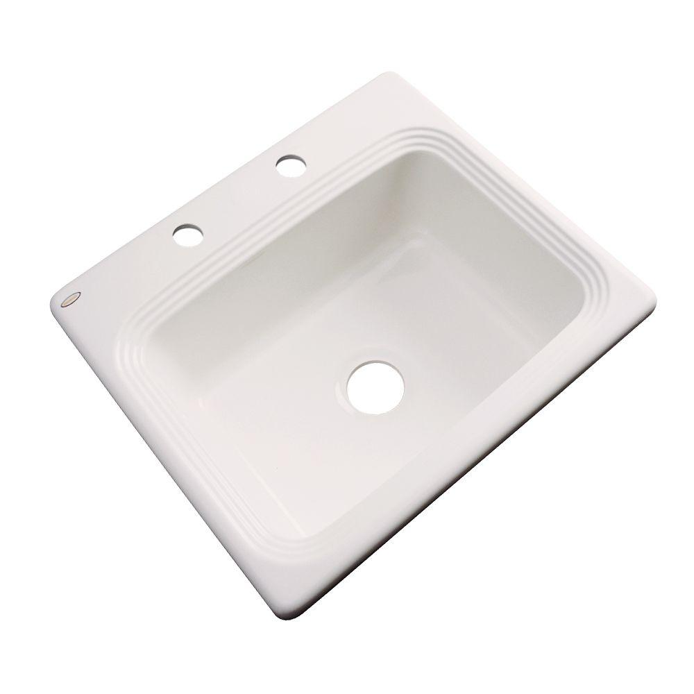 Thermocast Rochester Drop-In Acrylic 25 in. 2-Hole Single Bowl Kitchen Sink in Almond