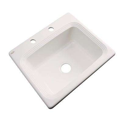 Rochester Drop-In Acrylic 25 in. 2-Hole Single Bowl Kitchen Sink in Almond
