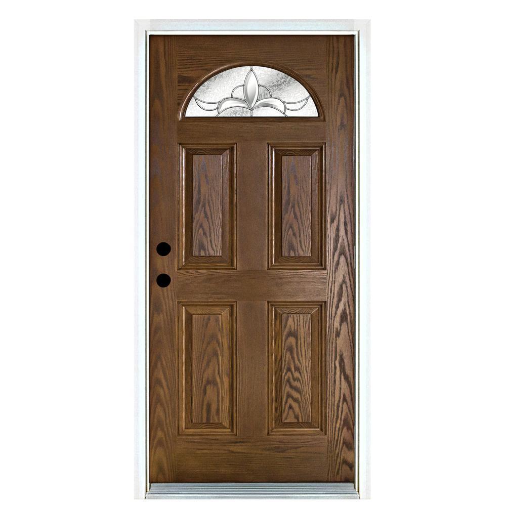 36 in. x 80 in. Andaman Medium Oak Right-Hand Inswing Fan Lite Decorative Fiberglass Prehung Front Door