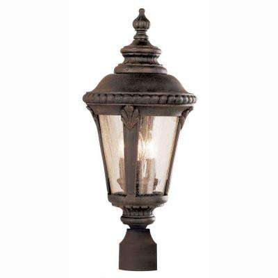 Breeze Way 3-Light Outdoor Rust Post Top Lantern with Seeded Glass