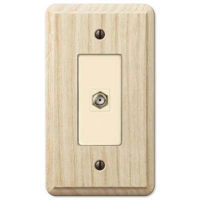 Contemporary 1 Gang Coax Wood Wall Plate - Unfinished Ash