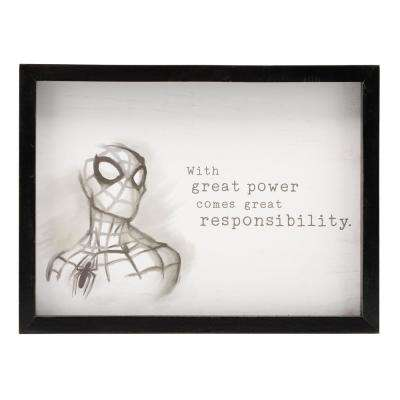 "12 in. x 16 in. ""Spider-Man: With Great Power"" Wood Framed Wall Art"