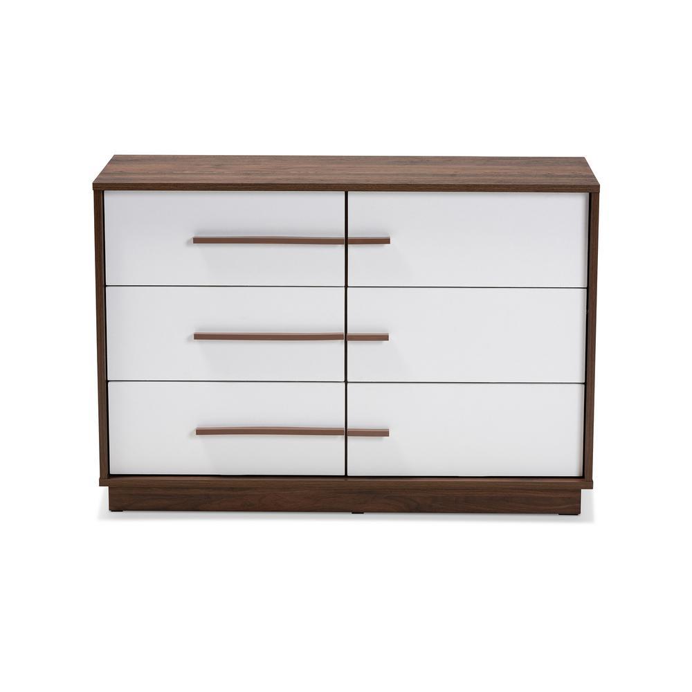 Mette 6-Drawer White Dresser