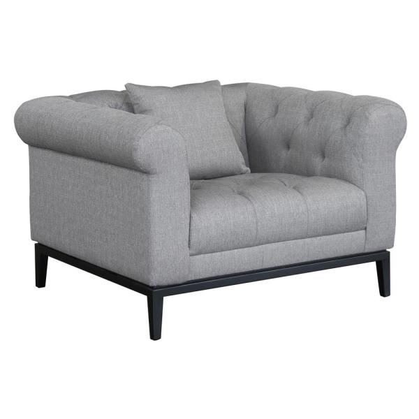 Armen Living Glamour Contemporary Grey Fabric Upholstered Accent Chair LCGL1GR