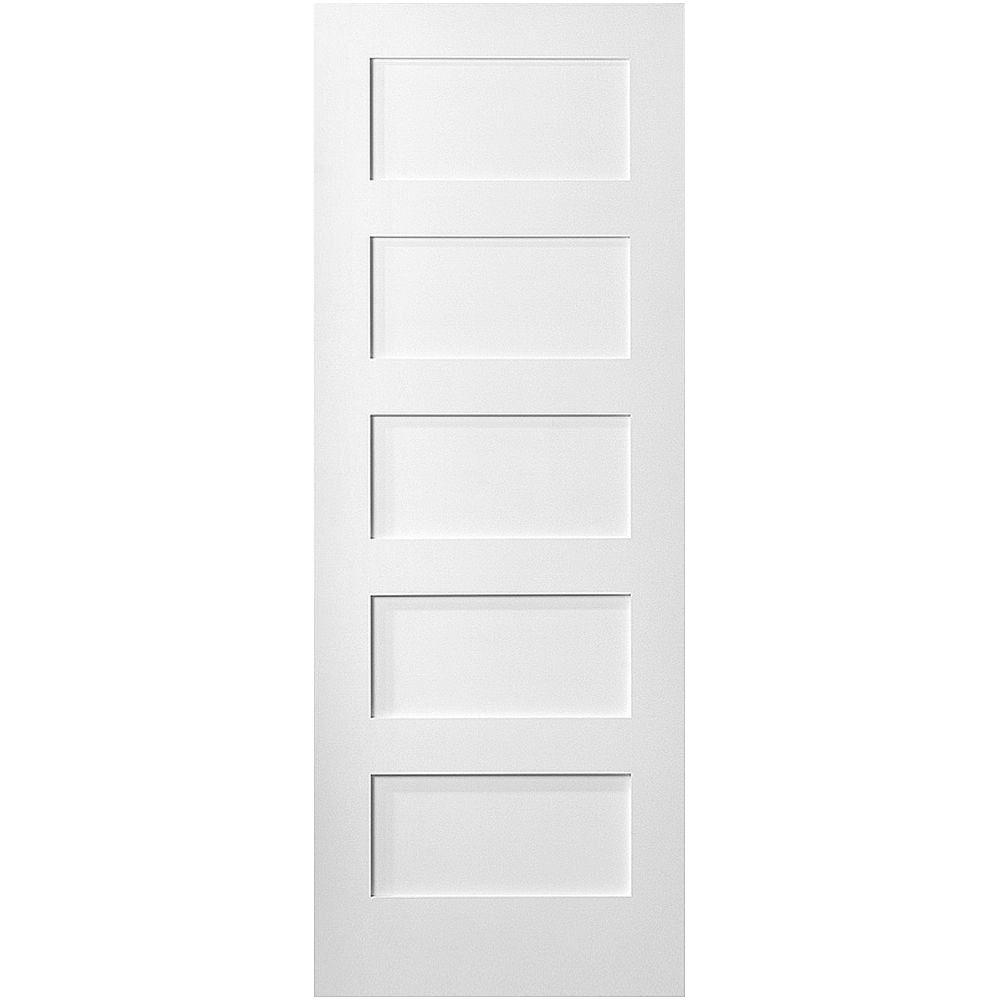Masonite 36 in x 80 in mdf series 5 panel right handed solid core smooth primed composite for Home depot white interior doors