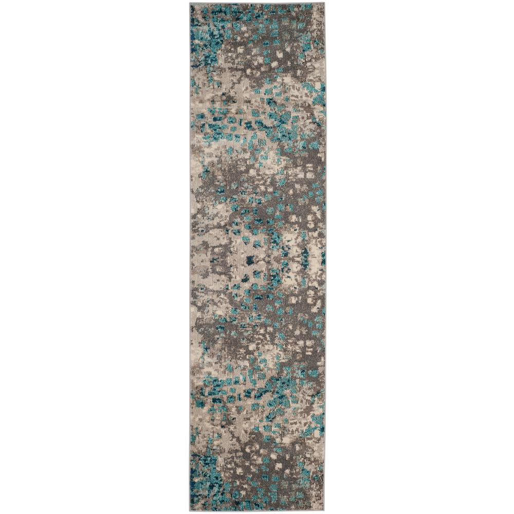 Safavieh Monaco Gray Light Blue 2 Ft X 12 Runner Rug
