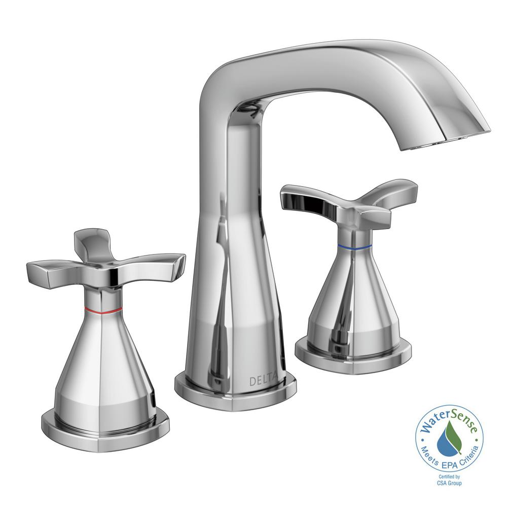 Delta Stryke 8 In. Widespread 2-Handle Bathroom Faucet In Chrome-357766-MPU-DST