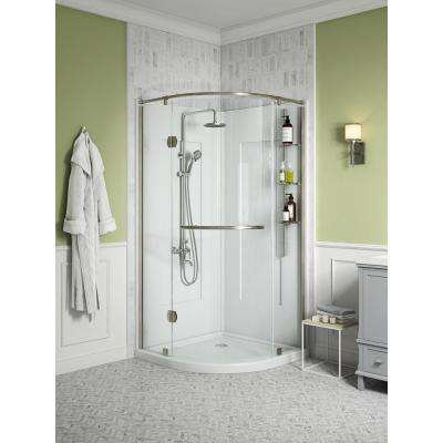 Glamour 36 in. x 76.40 in. Corner Drain Corner Shower Kit in White and Satin Nickel Hardware