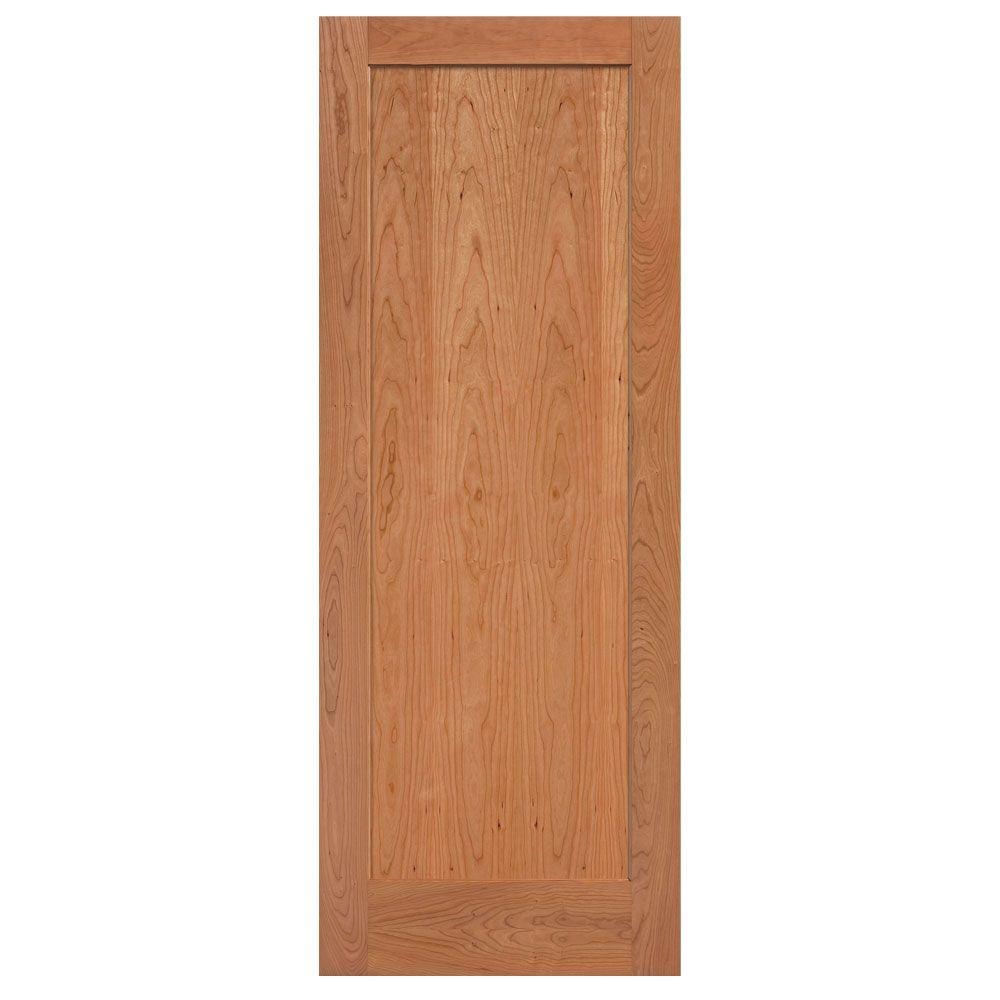 Masonite 30 in. x 84 in. Flat Panel Cherry Veneer 1 Panel Shaker Solid Wood Interior Barn Door Slab