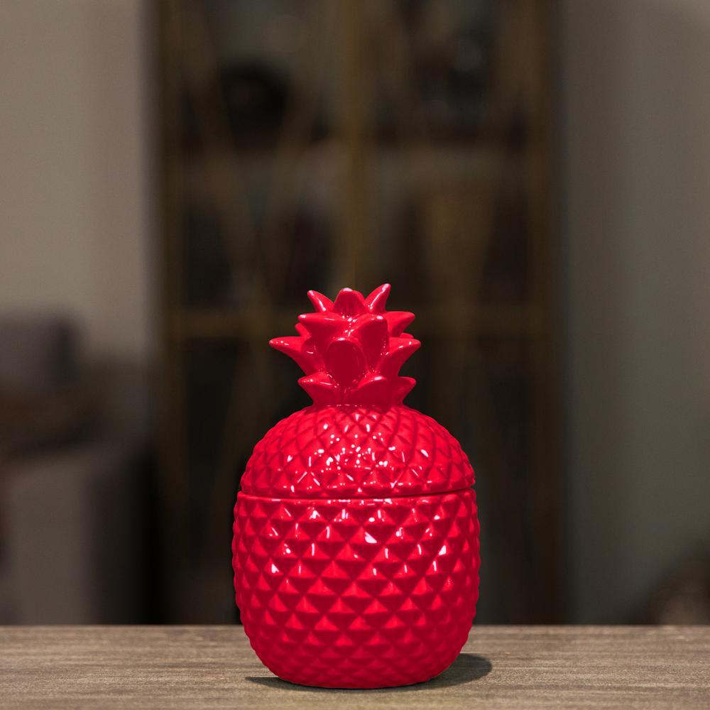 Red Gloss Ceramic Decorative Vase